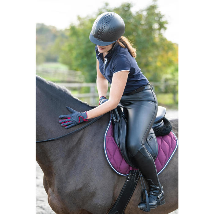 Gants équitation femme 500 marine et framboise
