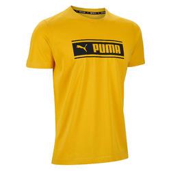 T-shirt heren geel/print
