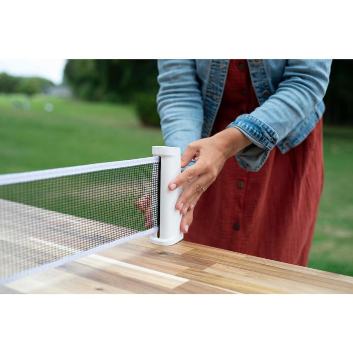 Tafeltennisset met verstelbare netposten 2 batjes 3 ballen Rollnet wit/grijs