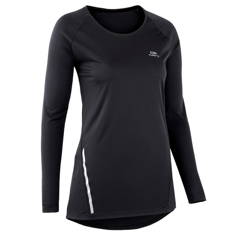T SHIRT MANCHES LONGUES JOGGING FEMME RUN SUN PROTECT LONG NOIR
