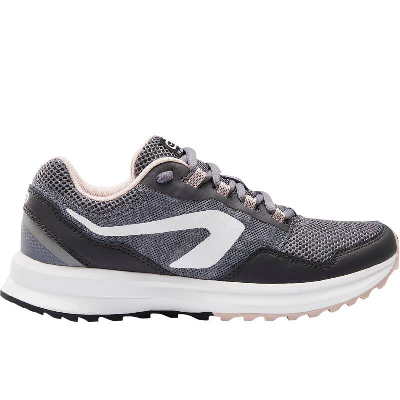 DÁMSKÉ BOTY NA JOGGING / PŘÍLEŽITOSTNÉ POUŽITÍ Běh - BOTY RUN ACTIVE GRIP ŠEDÉ  KALENJI - Běžecká obuv