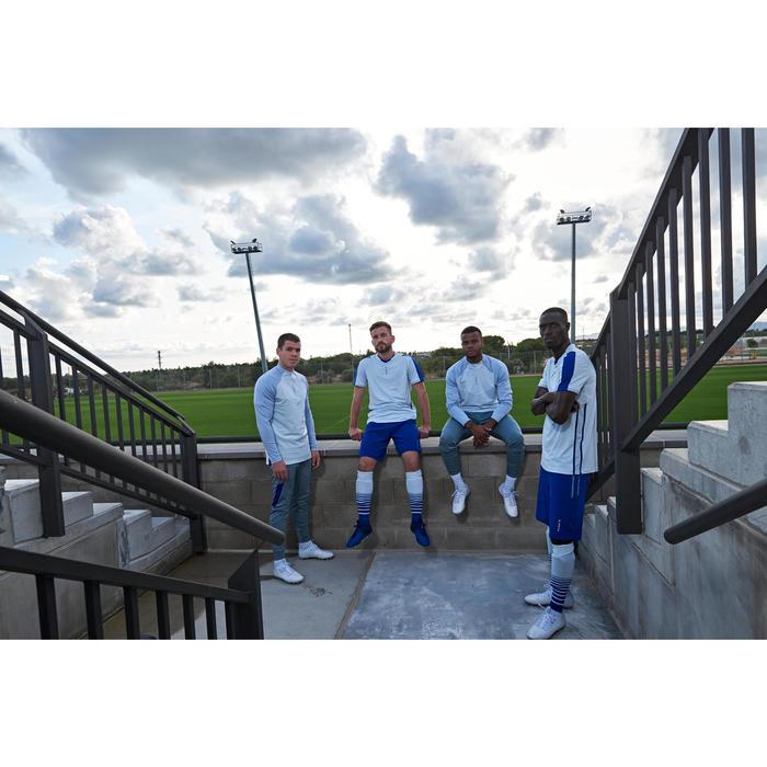 成人款半開式拉鍊足球運動衫TRX-淡灰色/藍色