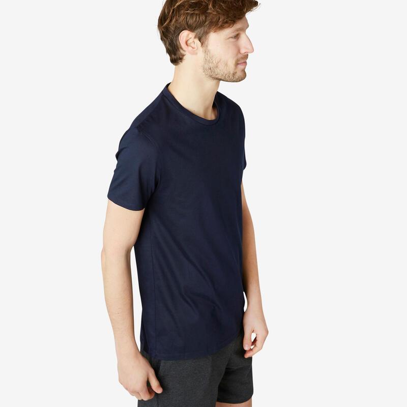 T-Shirt 100% Coton Fitness Sportee Bleu Marine