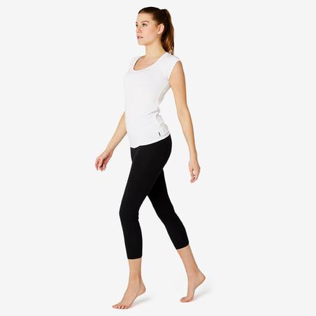T-shirt sport pilates gym douce femme 500aj blanc