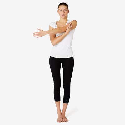 T-shirt Sport Pilates Gym douce Femme 500 Slim Blanc