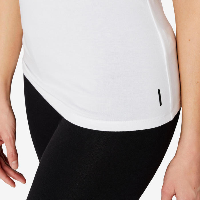 T-shirt Sport Pilates Gym douce Femme 500 Slim Blanc