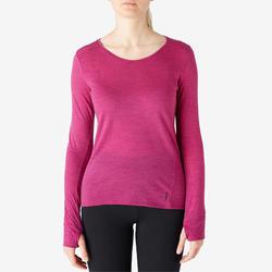 T-shirt Manches Longues Sport Pilates Gym Douce Femme Laine Prune