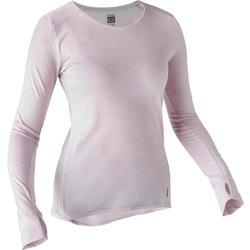 T-shirt Manches Longues Sport Pilates Gym Douce Femme Laine Violet