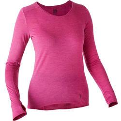 T-shirt met lange mouwen voor pilates en lichte gym dames wol paars
