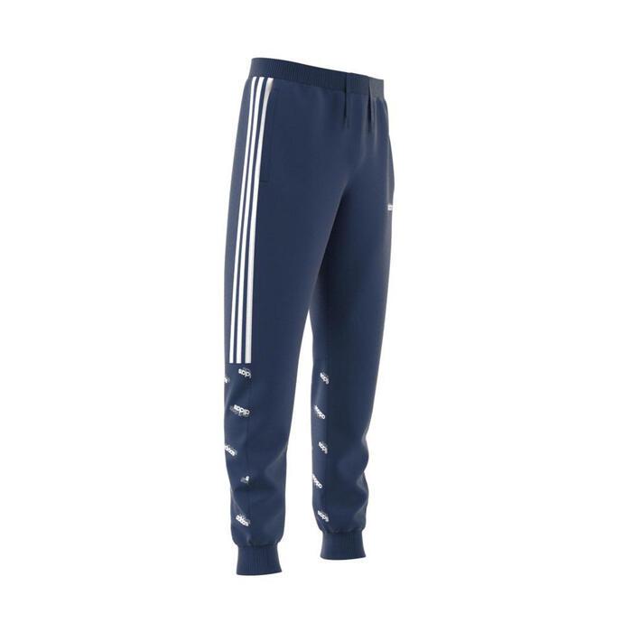 Pantalon bleu garçon 3 bandes à capuche imprimée, logo adidas sur la poitrine