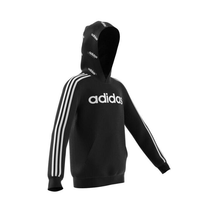Hoodie voor jongens zwart 3 strepen capuchon met print Adidas-logo op de borst