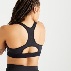 Brassière Zip fitness cardio training femme imprimée noire 900
