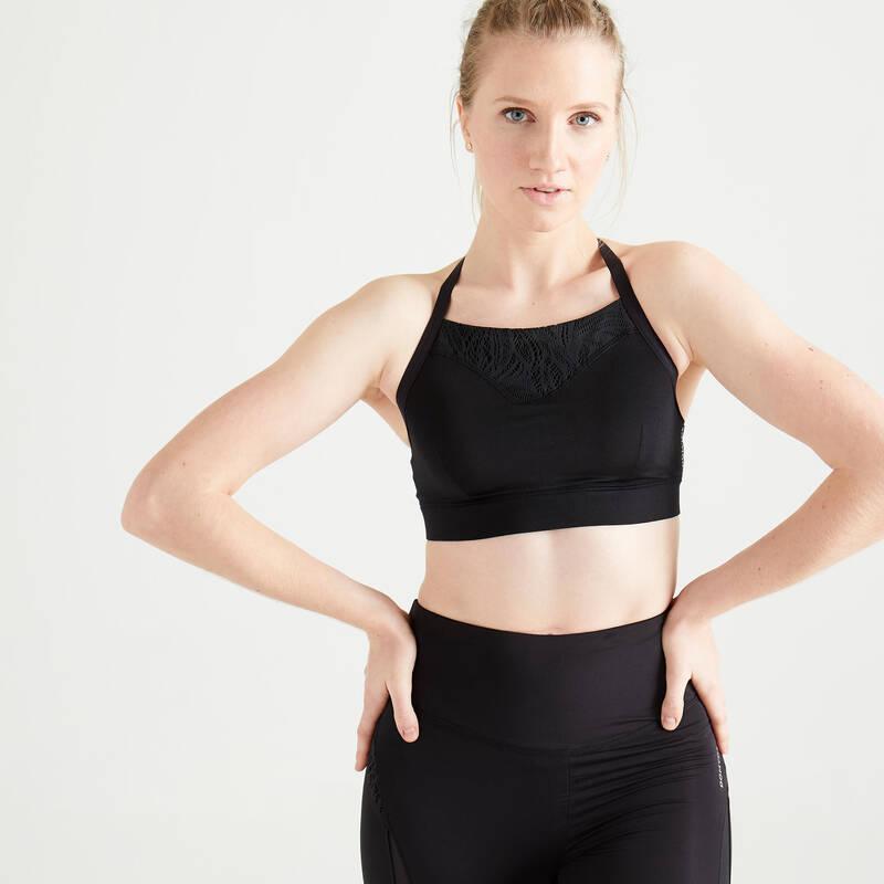 PODPRSENKY A DÁMSKÉ SPODNÍ PRÁDLO NA FITNESS Fitness - SPORTOVNÍ PODPRSENKA 120 ČERNÁ DOMYOS - Fitness oblečení a boty
