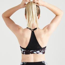 Sportbeha voor cardiofitness 120 zwart met print
