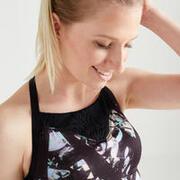 Women's Fitness Cardio Training Sports Bra 120 - Black Print