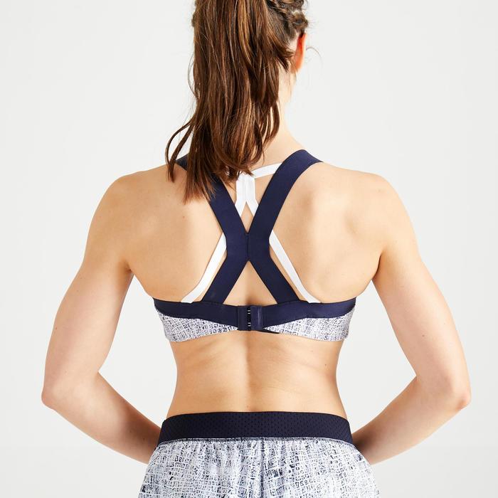 Sportbeha voor cardiofitness 520 wit/blauw print