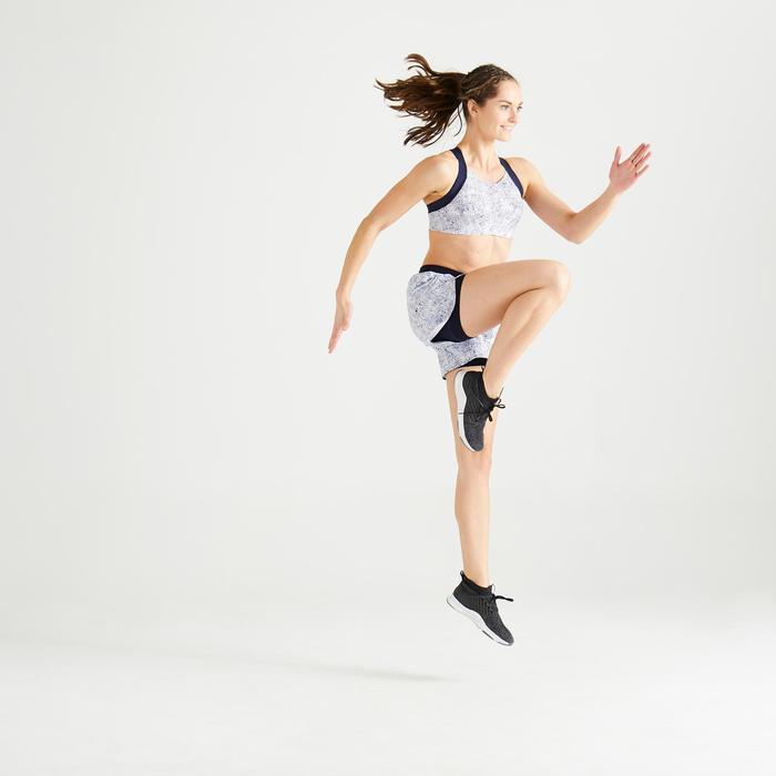 Brassière fitness cardio training femme imprimée blanche et bleue 520