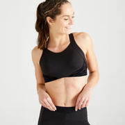 Medium Support Adjustable Fitness Sports Bra - Black