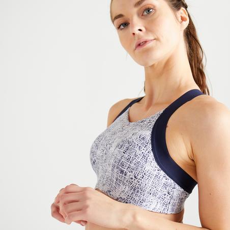 Women's Cardio Fitness Sports Bra 520 - White/Blue Print