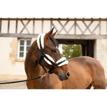 Halster met schapenvacht ruitersport paard zwart/beige