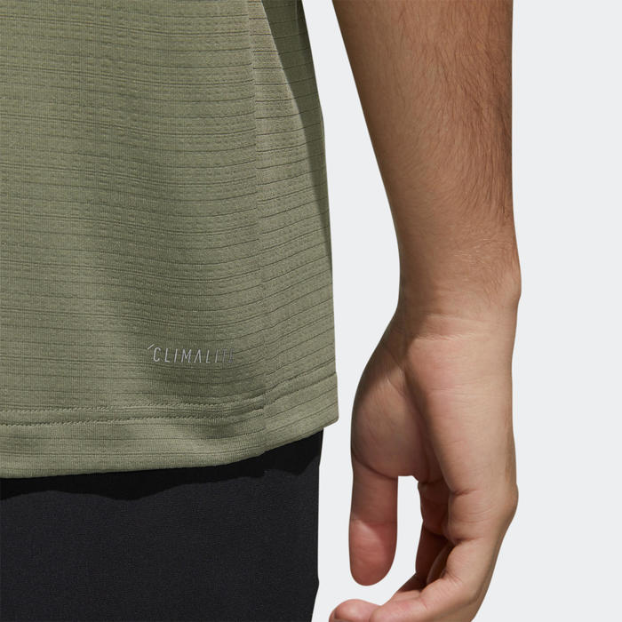 Tee shirt Fitness cardio training Adidas Aeroready vert kakhi