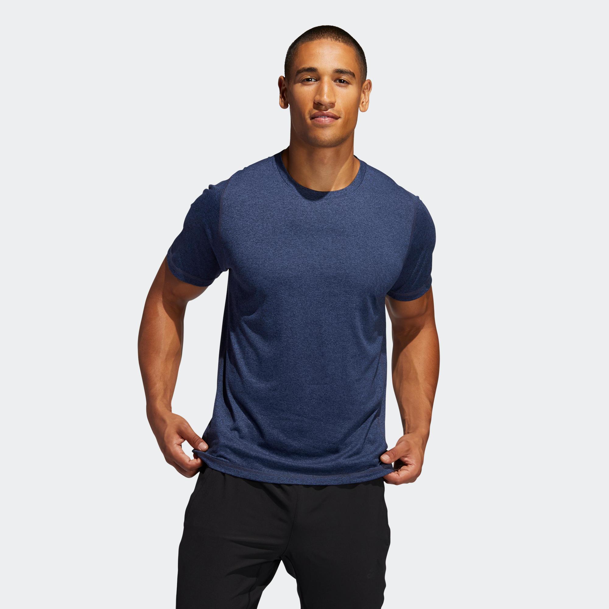 mejor calidad fábrica incomparable Camiseta manga corta Adidas Hombre Gym Fitness azul jaspeado ...