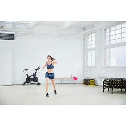 Sportbeha voor cardiofitness 500 marineblauw print