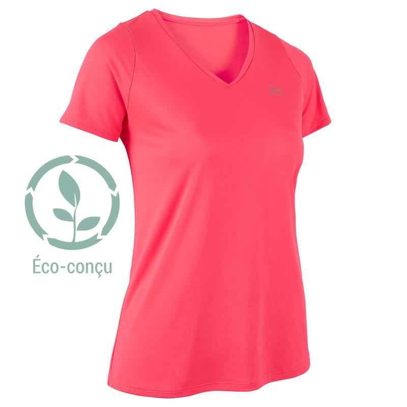 Playera Manga Corta Running Kalenji Run Dry Mujer Rosa Coral Fluorescente