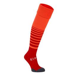 Chaussettes de football rayée enfant F500 Orange Fluo