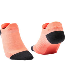 Dunne onzichtbare hardloopsokken Kiprun oranje