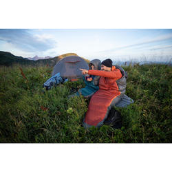 Slaapzak voor trekking Trek 900 0° dons grijs/rood