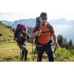 T-shirt mérinos trekking montagne TREK500 manches courtes homme orange