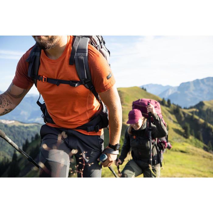 T-shirt mérinos manches courtes de trek montagne - TREK 500 orange homme