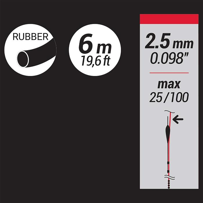 Vol elastiek in latex voor statisch vissen 2,5 mm 6 m