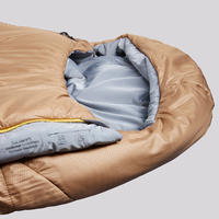 TREKKING MUMMY SLEEPING BAG - TREK 500 0°C WADDING TWINNABLE - BROWN