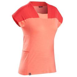 Merino T-shirt voor bergtrekking dames Trek 500 koraalrood