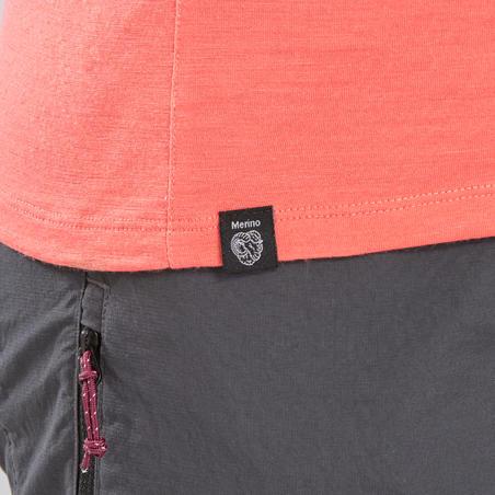 Mountain Trekking Merino T-Shirt - Women's TREK 500 - Coral