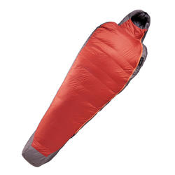 Mummy slaapzak Trek 900 - 0° - dons grijs/rood