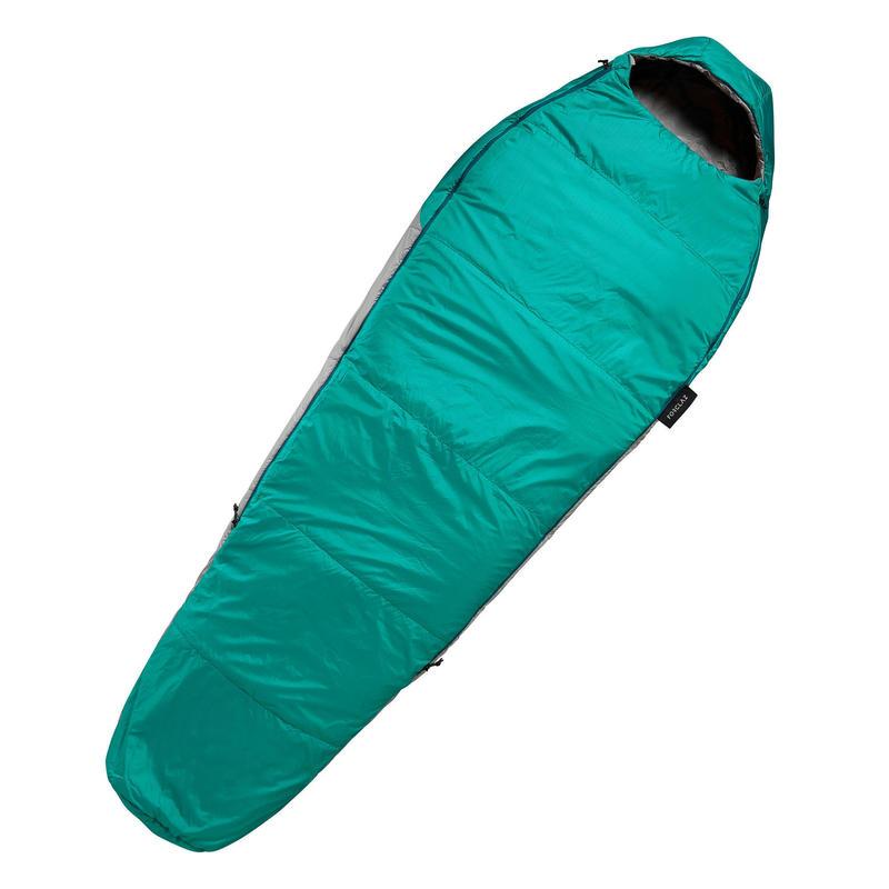 TREKKING MUMMY SLEEPING BAG - TREK 500 10°C WADDING TWINNABLE - BLUE