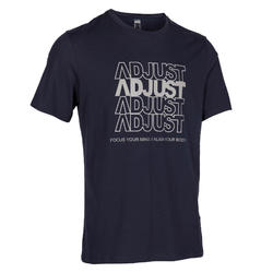 皮拉提斯與溫和健身標準剪裁T恤500 - 深藍色