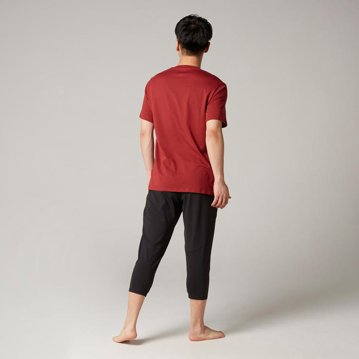 Pilates & Gentle Gym Regular-Fit T-Shirt 500 - Burgundy