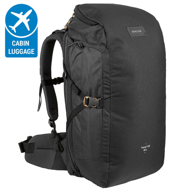 TRAVEL Backpack 100 _PIPE_ 40 Litre- Black