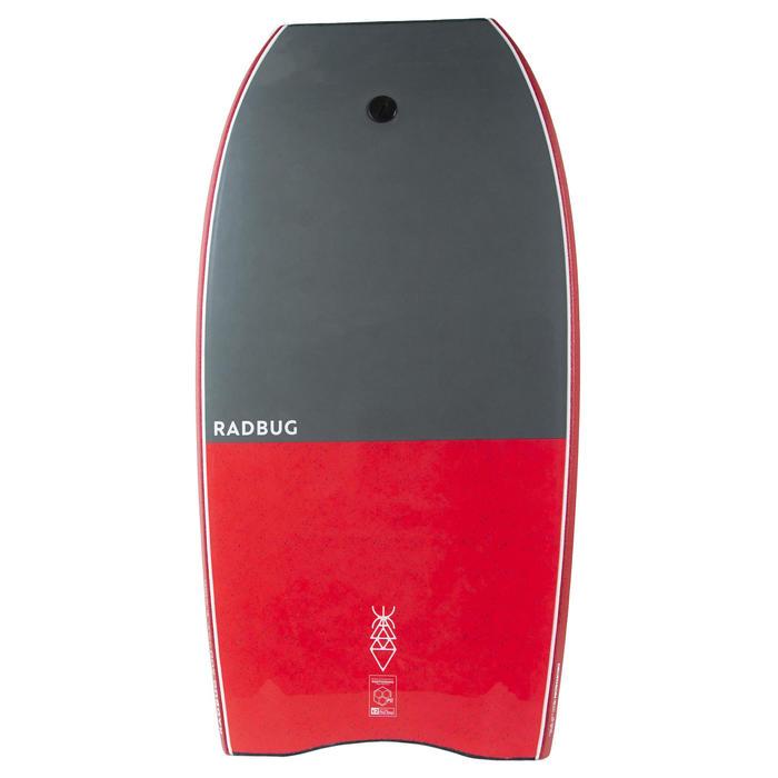 Bodyboard 500 gris rouge avec leash biceps