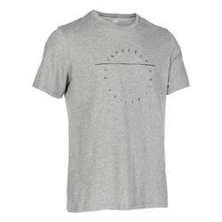 標準剪裁溫和健身與皮拉提斯T恤500 - 灰藍色