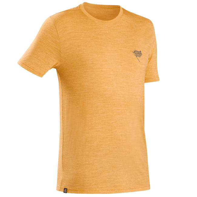 Men's travel trekking Merino wool t-shirt - TRAVEL 100 - yellow