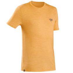 Men's travel trekking Merino wool t-shirt - TRAVEL 100 - yellow