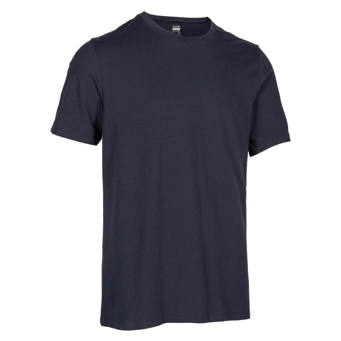 Men's Regular-Fit Pilates & Gentle Gym Sport T-Shirt 500 - Navy Blue