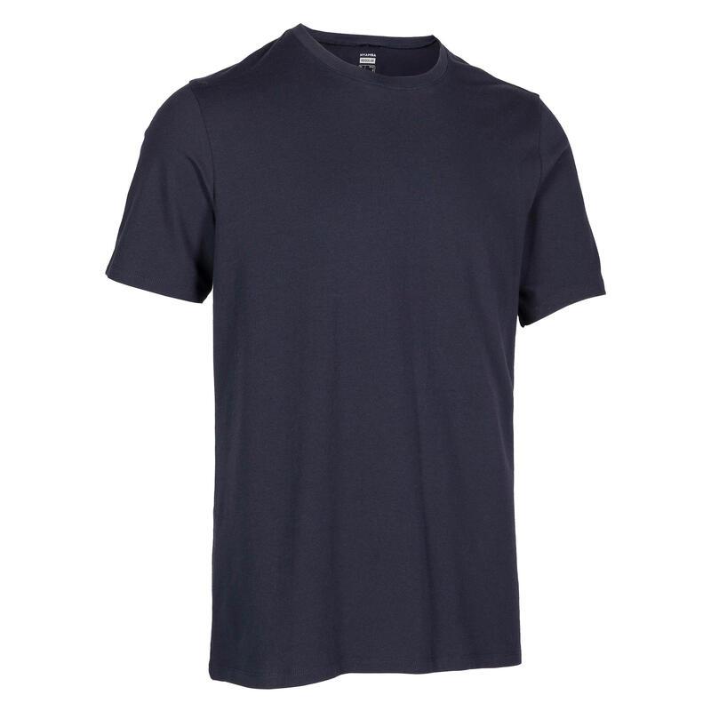 男款標準剪裁溫和健身與皮拉提斯T恤500 - 軍藍色