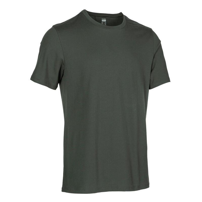 皮拉提斯與溫和健身標準剪裁T恤500 - 深綠色