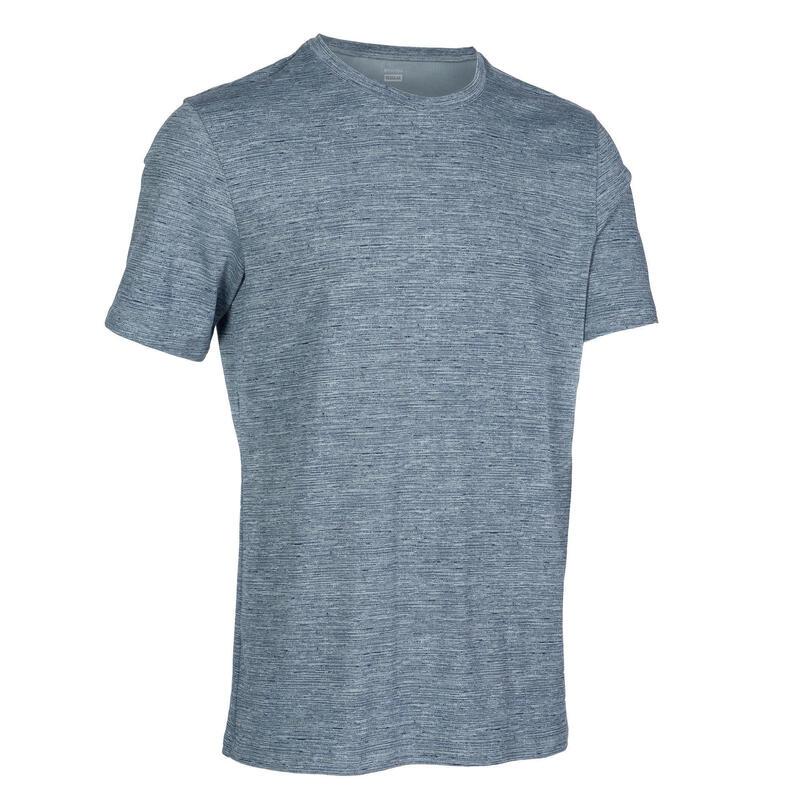 標準剪裁皮拉提斯與溫和健身T恤500 - 灰色印花